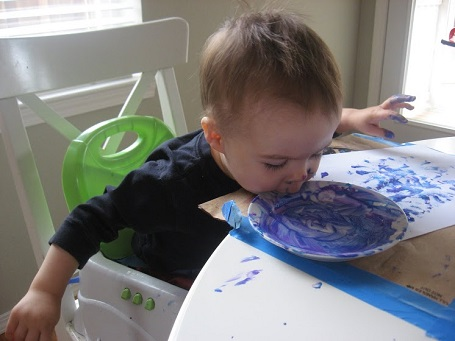 sponge painting with toddlers is fun