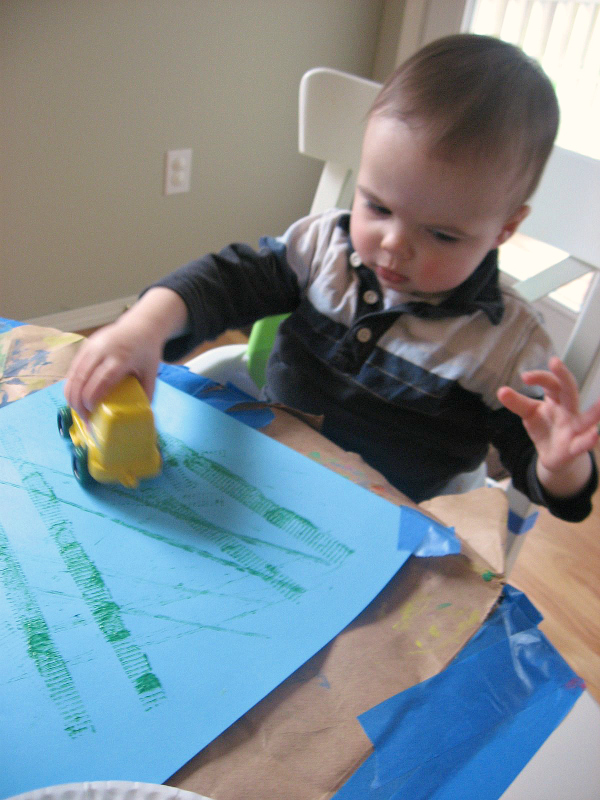 painting with cars and trucks and trains