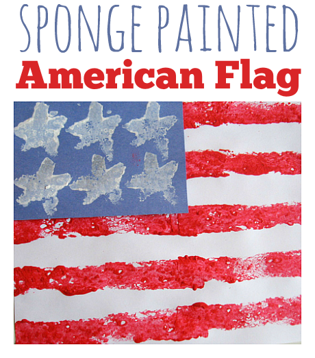 sponge painted american flag 4th of july craft