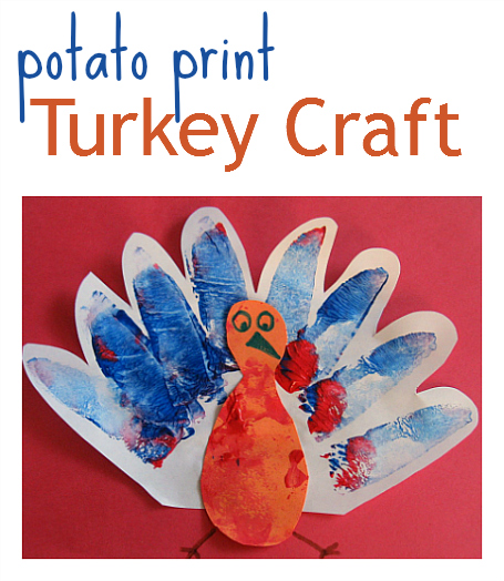 potato print turkey craft for thanksgiving