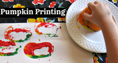 pumpkin printing for kids and toddlers