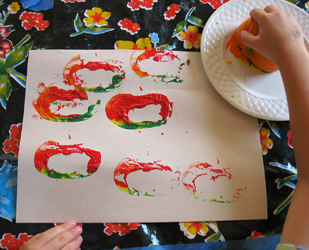 pumpkin printing in preschool