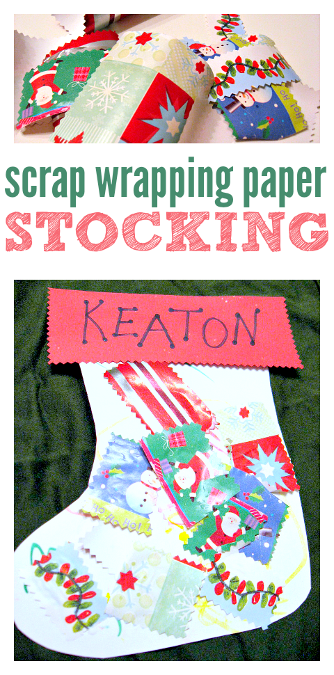 Scrap Wrapping Paper Stocking Easy Christmas Craft For Toddlers