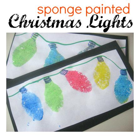 christmas craft for kids - Sponge Painted Christmas Lights