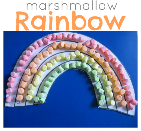 Marshmallow Rainbow Craft for Kids. Click for 10 More Easy St. Patrick's Day Craft