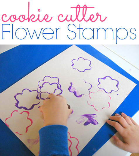 Painting with cookie cutters - toddler art activity