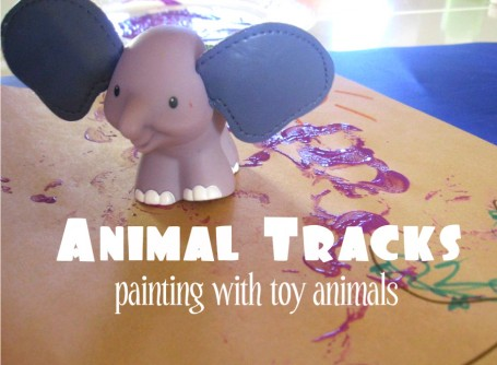 Animal Tracks- painting with toy animals
