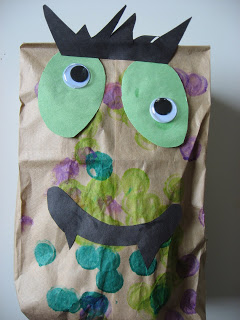 Paper bag monster craft no time for flash cards for Paper mashing craft