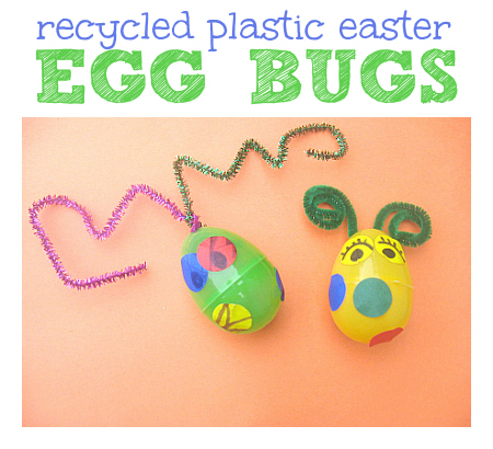 recycled easter egg bugs