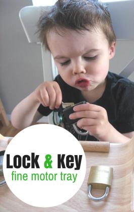 Fine Motor Friday- Lock and Key Fine Motor Tray
