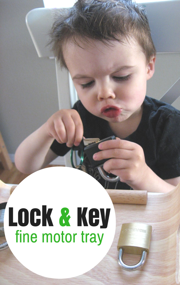 lock and key fine motor tray activity for preschool