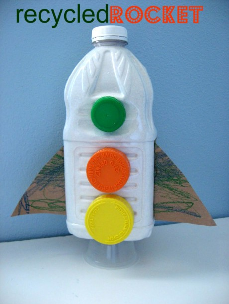 Milk Cartons And Plastic Bottles Recycled Rocket Craft