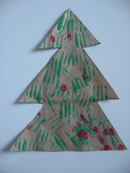 fork printed christmas tree craft - Christmas Tree Crafts For Preschoolers