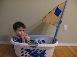 Laundry Basket Sail Boat No Time For Flash Cards