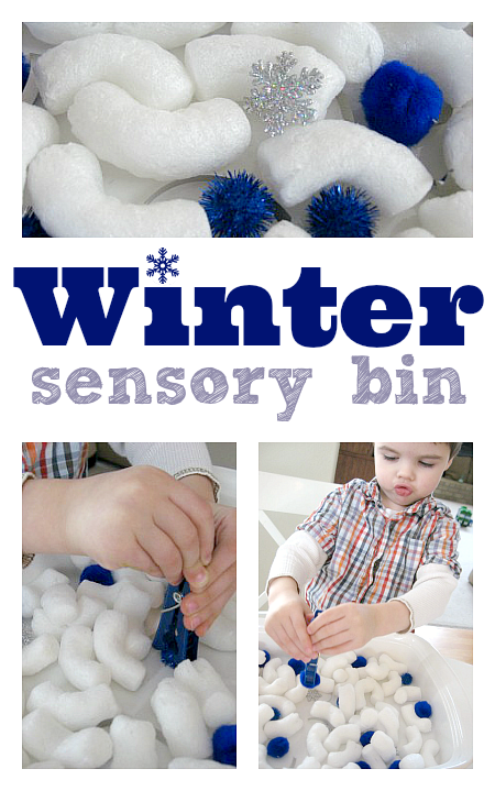 winter sensory bin for preschool
