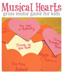 musical hearts gross motor game for kids