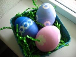 Polka Dot Dyed Easter Eggs