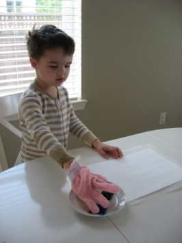 Finger painting with gloves