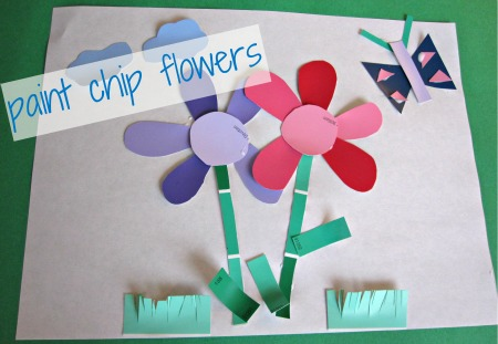 paint sample crafts paint chip flowers no time for flash cards 2594