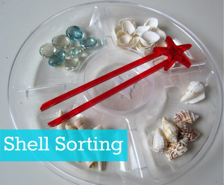 Shell Sorting ocean themed activity for preschool