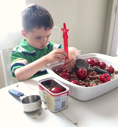 apples and acrons sensory play edit