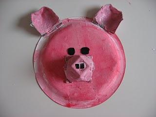 paper plate pig craft