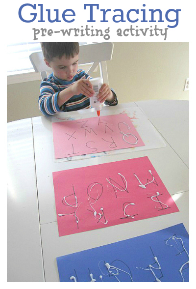 letter tracing with glue