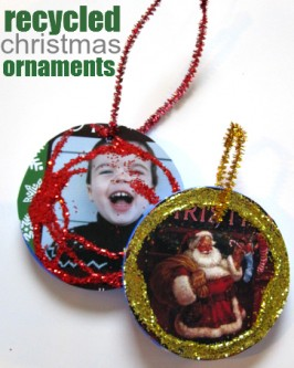 Recycled Lid Christmas Ornament Craft