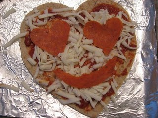 heart shape pizza for valentines day