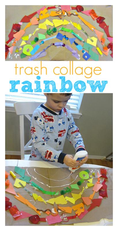 trash collage rainbow craft for kids
