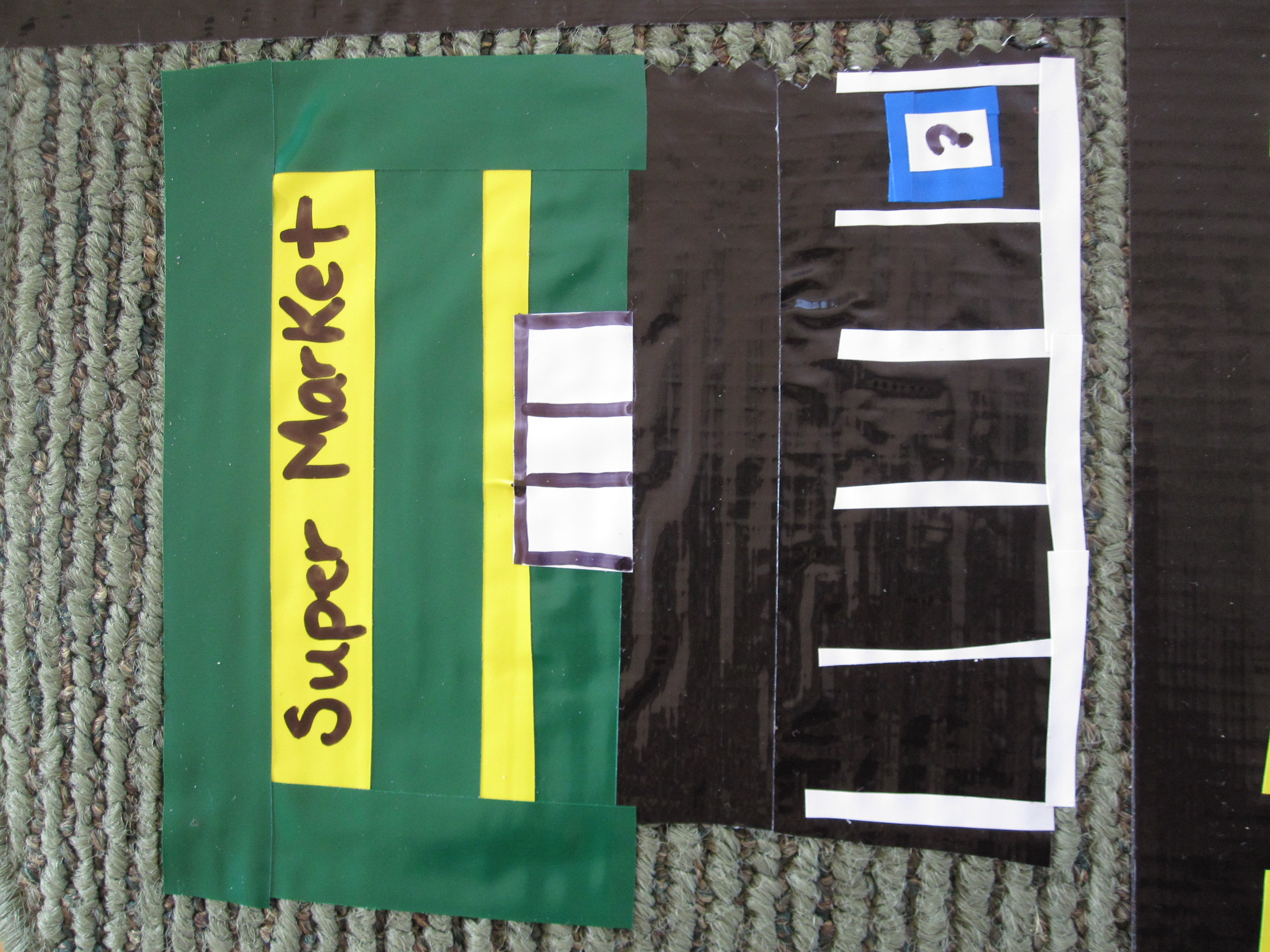 upcycled mat roadway - no time for flash cards