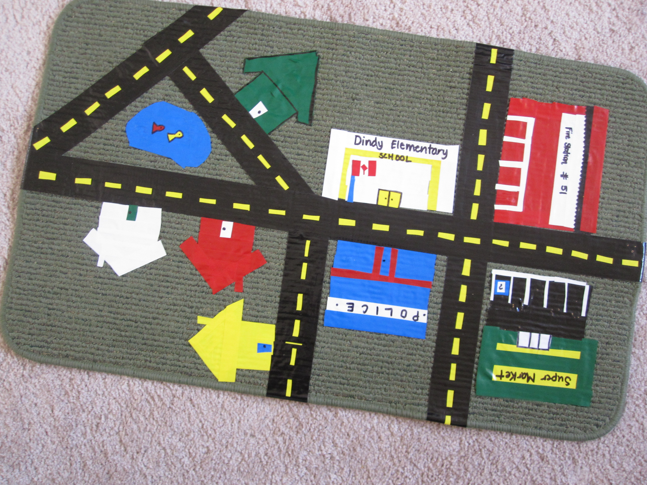 upcycled mat roadway no time for flash cards