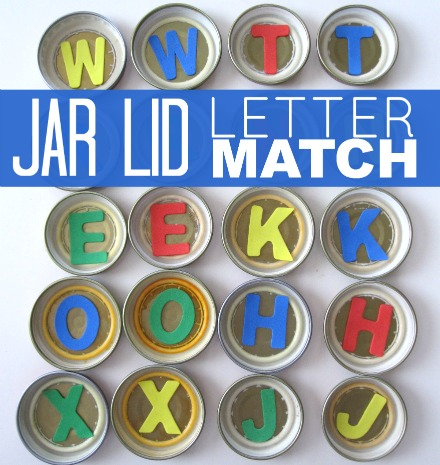 baby food jar lid letter match