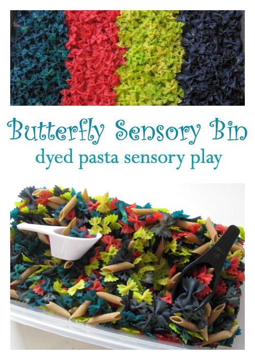 dyed pasta sensory play