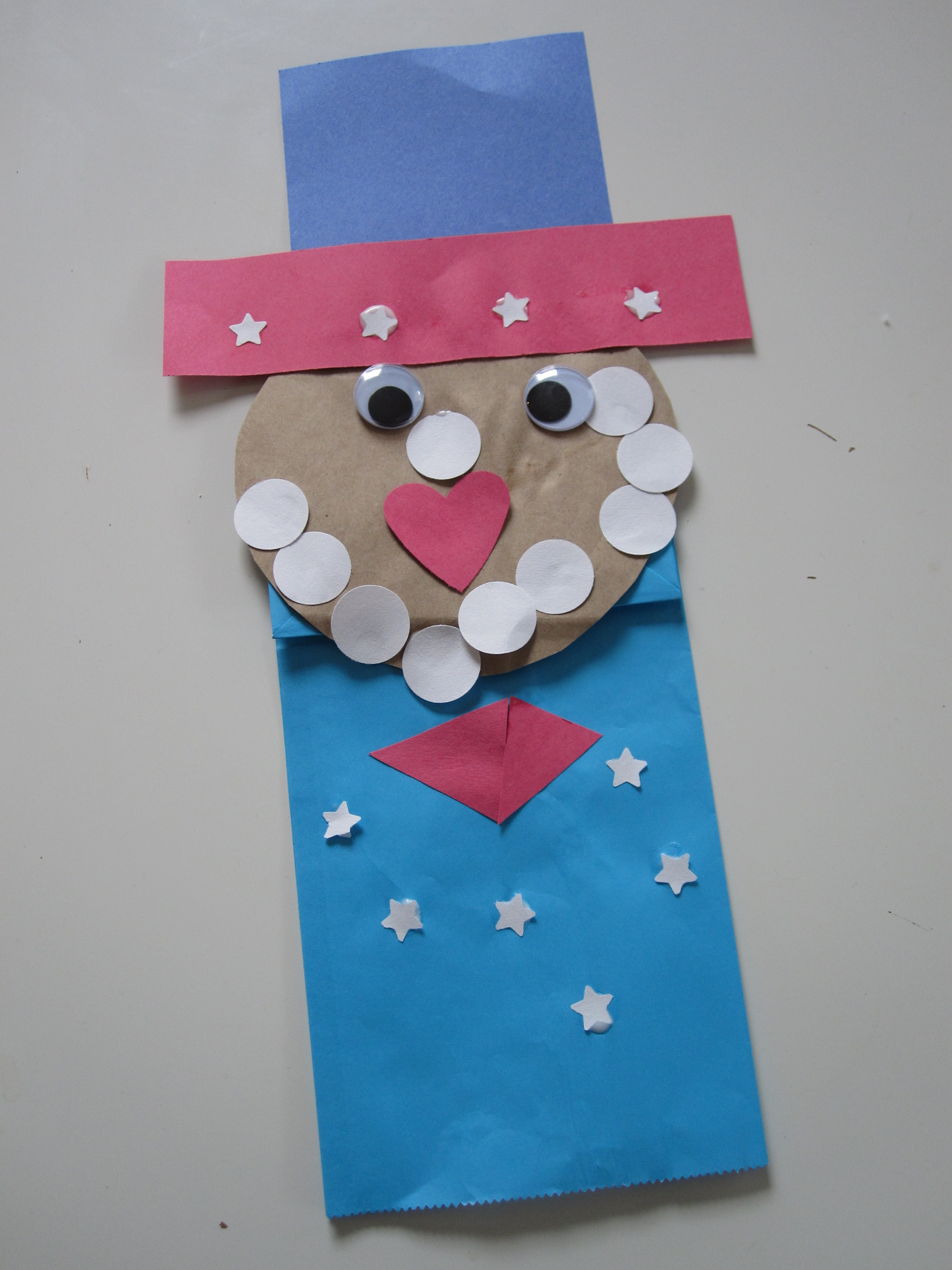 Uncle sam puppet for the 4th of july no time for flash cards for Quick crafts for preschoolers