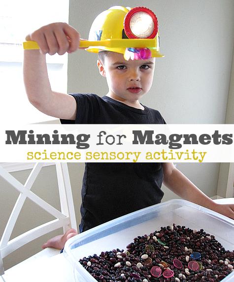 minig for magnets science sensory tub