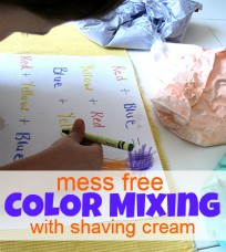 mess free color mixing with shaving cream