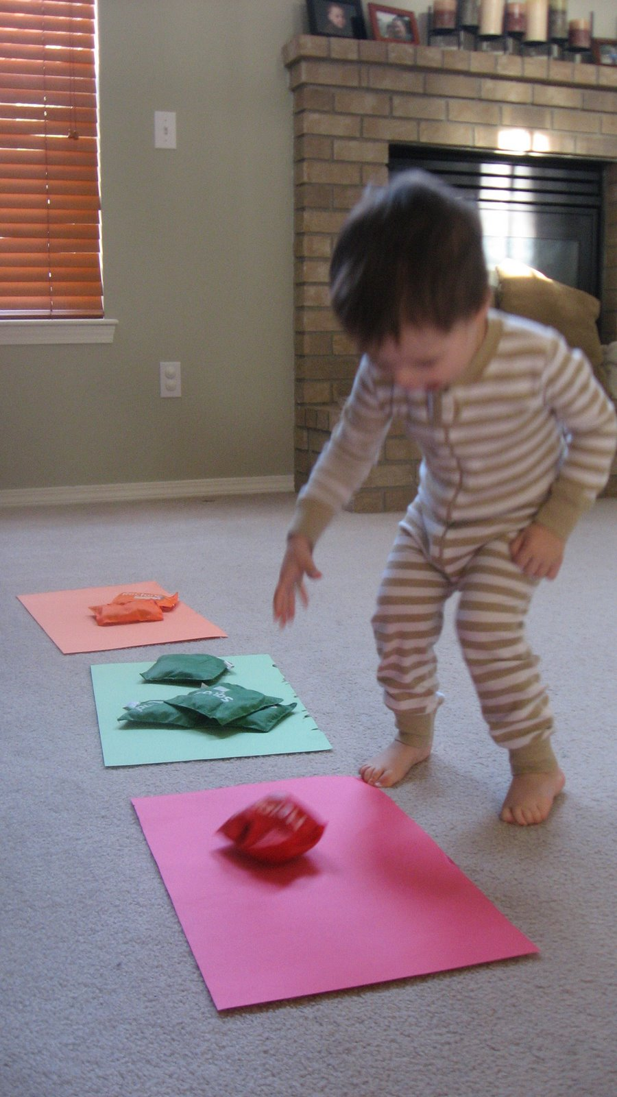 Bean bag toss for Indoor gross motor activities