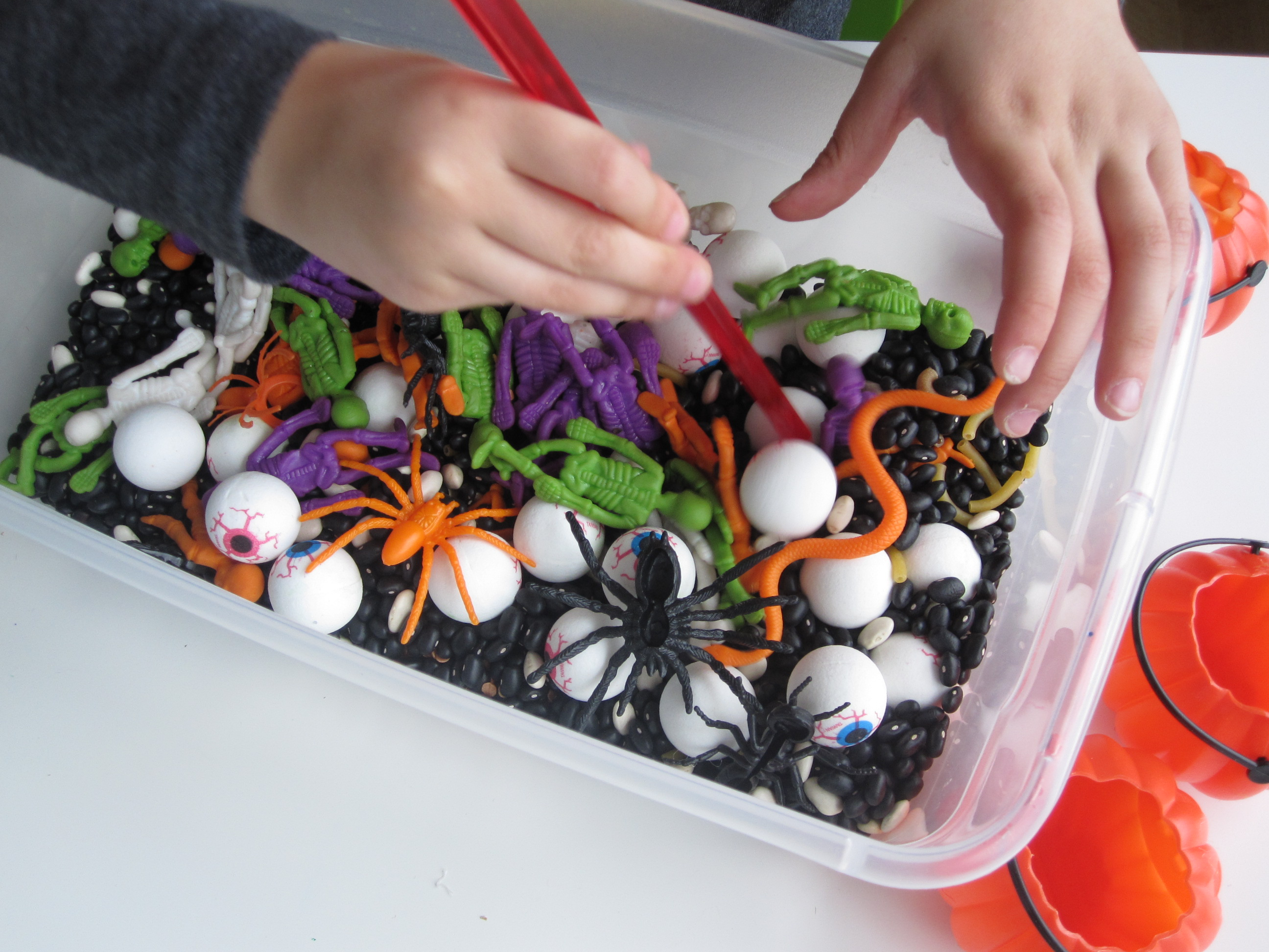 halloween sensory tub for multiple ages - no time for flash cards