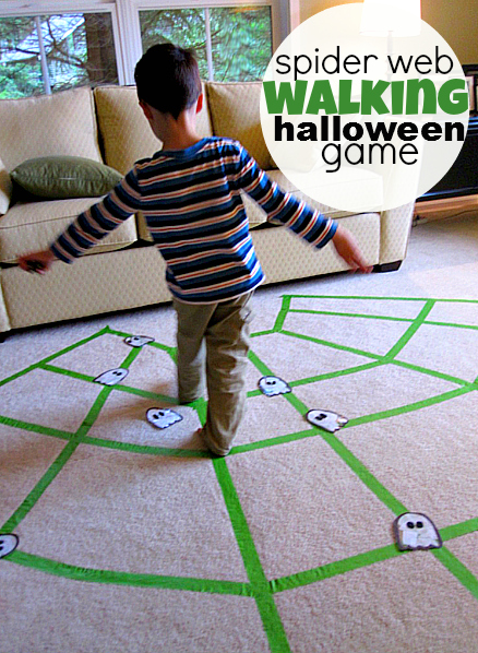 Spider web walking halloween game for Indoor large motor activities for toddlers