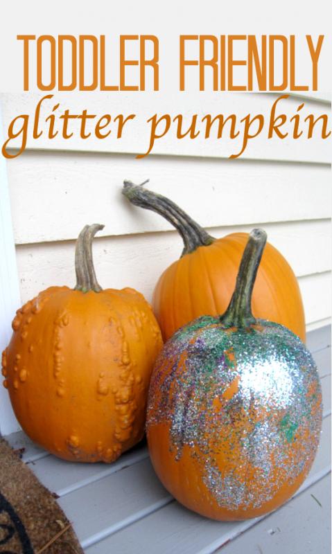 toddler glitter pumpkin craft