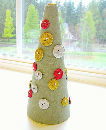 Button Christmas Tree Craft Kids