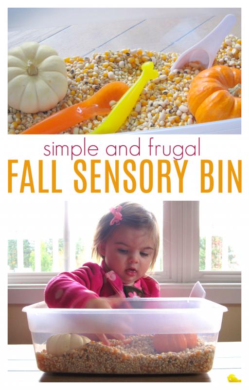 fall sensory bin for toddlers