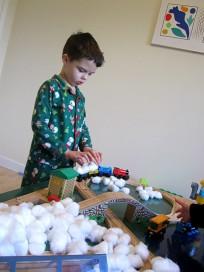 train table winter sensory play