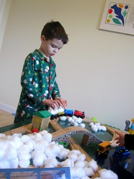train table winter sensory play