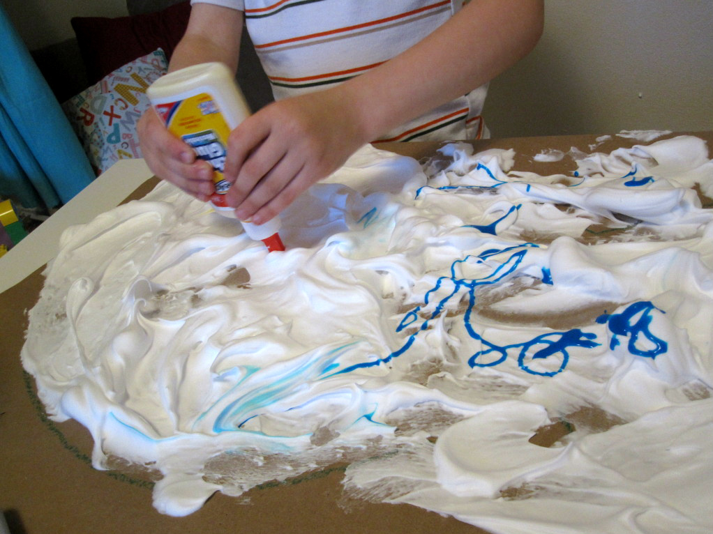 Diy puffy paint fish no time for flash cards for Shaving cream paint