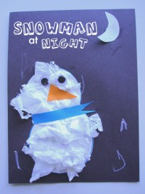 Snowman at night craft for kids