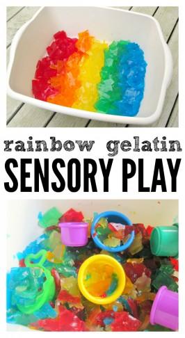 Rainbow Gelatin Sensory Tub