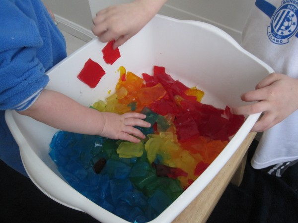 rainbow sensory tub made frim gelatin