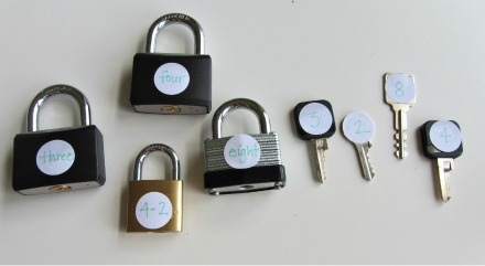 math activity for preschool using locks and keys